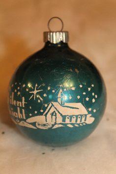 Vintage Blue Shiny Brite Silent Night Church Stenciled Christmas Ornament*L@@K!