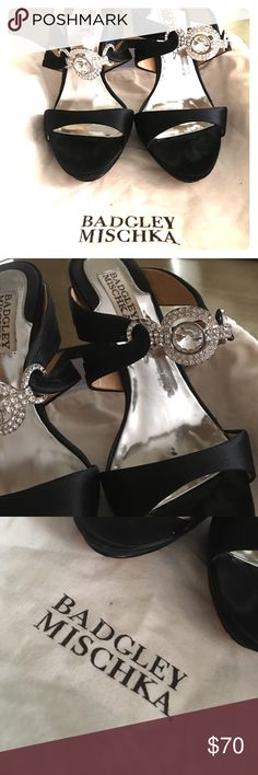 Shoes Badgley Mischka! Black, fancy, crystals, true to size! Worn 3 times, in good condition, comes with original shoe box and shoe bag! Size 6. Originally bought it from Bloomingdales Badgley Mischka Shoes Sandals