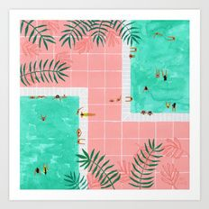 Art Print featuring Poolside by Helo Birdie