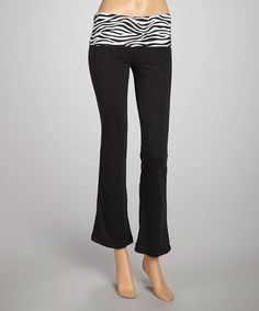 Take a look at this Black & White Zebra Bank Yoga Pants by Heart & Hips on #zulily today!