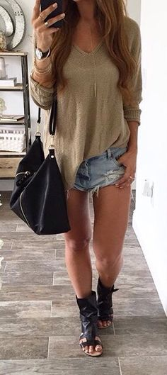 Cute cut offs with tan slouchy top. I'd like to wear it with lighter weight shoes to lengthen the leg...but still adorable <3