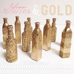 Gold Bottles by Minted and Vintage