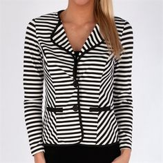 Sunny Leigh Striped Ponte Blazer #VonMaur #SunnyLeigh #Black #White #Jacket #ButtonFront