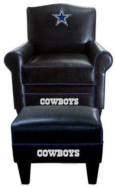 Dallas Cowboys Leather Game Time Chair and Ottoman