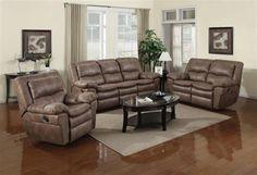 Delgado Cognac Brown Wood Steel Foam Polyester Living Room Set