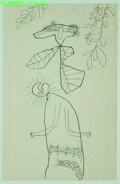 Lucebert (1924-1994) Nederlands schilder en dichter, hij koos het pseudoniem Lucebert (lichtbrenger).  Met zijn dichtwerk nam hij deel aan de Cobra-tentoonstelling in Amsterdam in 1949, op welk moment hij uit de beweging stapte. Enerzijds stimuleerde Cobra hem, en de andere experimentele dichters, om de vrijheid die zij tot dan toe tastend in de taal zochten nu in volle overtuiging ook werkelijk te kiezen; anderzijds liet zij diepe sporen na in zijn ontwikkeling als schilder