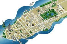 Detailed tourist map of Manhattan. New York City (NYC). Lower Manhattan, Manhattan New York, Empire State Building, New York City Map, City Maps, Ny Map, Washington Square Park, Ellis Island, Monuments
