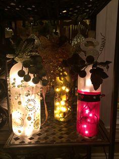 Wine bottle embellishment lights decor DIY crafts