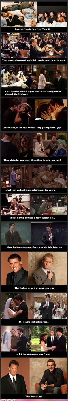 Friends vs How I Met Your Mother Chandler is spot on but I think the best one from himym is Barney Friends Tv Show, Tv: Friends, Serie Friends, Funny Friends, Friends Moments, Chandler Friends, Friends Cast, How I Met Your Mother, Best Tv Shows