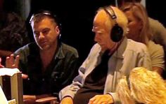 "Paul Thomas Anderson and Robert Altman watch a playback monitor on the set of ""A Prairie Home Companion"", 2005.  With his health diminishing, Altman was required to hire a ""backup"" director (Anderson) to observe filming at all times and be prepared to take over if a worst case scenario arose. A Prairie Home Companion, Robert Altman, Thomas Anderson, Monitor, Times, Watch, Film, Health, Salud"