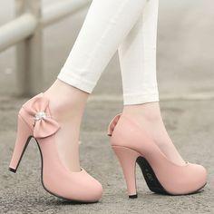 Rhinestone Bow High Heels Women Pumps Platform Shoes 1273 #lowplatformpumps