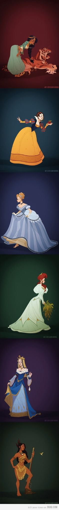 Disney Princesses in Historically Accurate Costumes