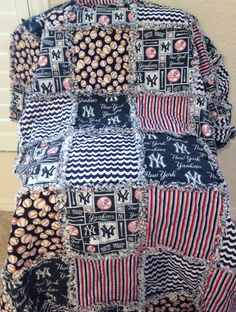 "New York Yankees  Rag Quilt    Blanket 72"" X 68""  Cotton   Baby Toddler Boy Girl Adult Teen Gift Birthday Baseball Navy Blue Stripes - pinned by pin4etsy.com"