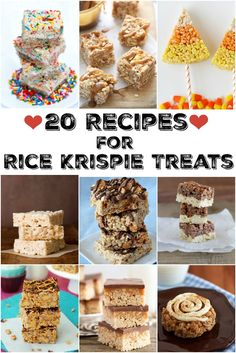 20 recipes for rice Krispie treats : you'll find recipes for things like Birthday Cake Rice Krispie Treats, Peanut Butter Cup Rice Krispie Treats, S'Mores Rice Krispie Treats, Oreo-Stuffed Rice Krispie Treats, Brown Butter Rice Krispie Treats, Pumpkin Spice Rice Krispie Treats, Butterfinger Rice Krispie Treats and more!