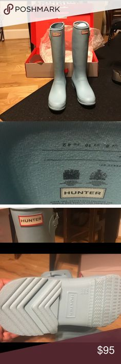 Hunter Boots Worn but Great condition they are just in between sizes! Comes with box. Hunter Shoes Winter & Rain Boots