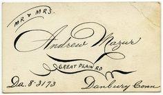 hand lettered calling card (Spencerian script)