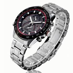 Tidoo Watches Mens Racing Sport Wrist Watch Japaneses Quartz Movement Staintless Steel Black Case Red Meter White Analog Calendar Dial Stainless Steel Band *** Find out more about the great product at the image link. (This is an affiliate link) Sport Watches, Watches For Men, Watch Case, Wish Shopping, Stainless Steel Watch, Casio Watch, Quartz Watch, Fashion Watches, Watch Bands