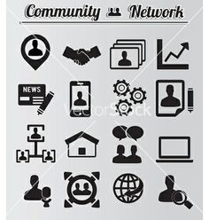 Set of network and community icons vector 1192561 - by enotmaks on VectorStock®