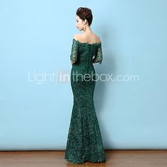 Formal Evening Dress Trumpet / Mermaid Off-the-shoulder Floor-length Lace with Lace 2016 - €52.91