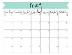 free printable may 2014 calendar!   www.livecrafteat.com
