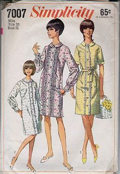Simplicity 7007 Ladies A Line Dress Vintage 1960's Sewing Pattern #1960s #dress #ladies #simplicity #vintage #patterns #sewing #retro #vintagestitching