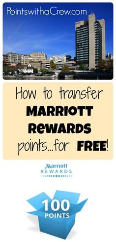 How to combine and transfer Marriott points (for free!) - http://www.pointswithacrew.com/how-to-combine-and-transfer-marriott-points-for-free/?utm_medium=PWaC+Pinterest