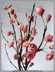 """Букет """"Сакура"""". Холодный фарфор. - цветы из полимерной глины,искусственные цветы"""