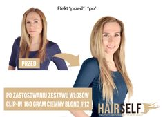 Before and After - HAIRSELF natural Clip-In hair extensions 160 gram, 45 cm,  www.hairself.pl