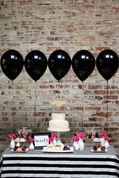 ideas decoración mesa dulce con globos