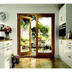 Exterior Pattern 10 Oak French Doors - These doors are what I want to my kitchen and deck - Architektur Exterior Wall Design, Exterior House Colors, Door Design, French Doors Patio, Patio Doors, Wood French Doors Exterior, Entry Doors, Double Front Doors, Patio Wall