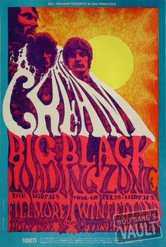 """psychedelic-sixties: """" Cream/Big Black/The Loading Zone/Glenn McKay's Head Lights/Holy See, February 1968 - March 1968 - Winterland (San Francisco, CA) Art By Lee Conklin. Rock Posters, Band Posters, Event Posters, Vintage Concert Posters, Vintage Posters, Woodstock, Wes Wilson, Concert Rock, Psychedelic Music"""