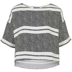 TOPSHOP Herringbone Striped Print Tee (1,340 MXN) ❤ liked on Polyvore featuring tops, t-shirts, shirts, blusas, tees, monochrome, white crop tee, white stripes t shirt, white tee and white crop shirt