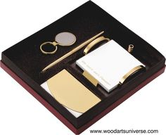 upto 35% off  4 Piece Business Gift Set WAUPCS206   The perfect employee gift idea when you are looking for a way to recognize your team on a job well done! A #businesscardcase , #keytag and #pen can be #engraved with your corporate #logo (additional charge) or with your employee's name. This gift set also includes a memo pad. mi