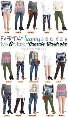 New Gap capsule wardrobe for fall. Includes velvet pants, fun floral and stripes, lots of great basic tops and super cute booties!  via @everydaysavvy #wardrobebasicsfall2017