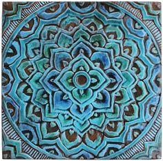 6 Moroccan Suzani or Mandala wall hangings made from ceramic
