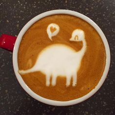 Cute dinosaur coffee (Instagram: woodentamper).