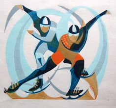 A new linocut print by Paul Cleden entitled Speed Skate. Linocut, signed and numbered by the artist from a small edition of Art Deco Illustration, Modern Art, Contemporary Art, Sports Painting, Speed Skates, Sports Art, Animation, Linocut Prints, Online Art