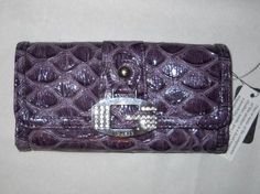Guess Womens Carnie SLG Wallet Purse Clutch Purple Croc NWT « Only Women's Clothing $37.99
