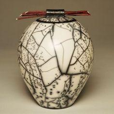 Raku fired crackle vase