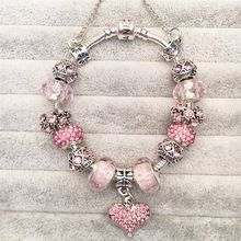 Vogue Pulseras Encanta Granos Adapta Europea Pandora Pulseras de diamantes de Imitación de Joyería de La Manera DIY Regalo de San Valentín Rosa Loveheart(China (Mainland))