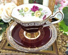 Royal Stafford Maroon Gold Tea Cup and Saucer Floral Pattern