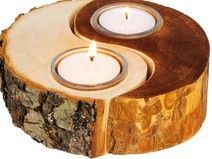 Portavelas Ying y Yang de madera                              …