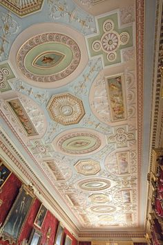 Harewood House: Ceiling design - a Robert Adam design, this ceiling is a masterpiece of Georgian design - Gallery at Harewood House