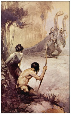 J. Allen St. John: David Innes and Dian in Pellucidar from At the Earth's Core by Edgar Rice Burroughs.
