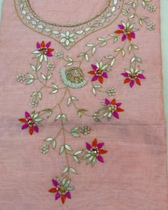 Lace Trim Band Embroidered in Pink and Sage Green Floral Pattern 48mm Width