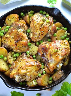 Chicken Vesuvio in a pot! Four baked chicken breasts rounded with baked potato and peas.