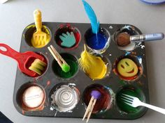 "Painting with random objects at 'Tu Tamariki - Play Based Learning' ("",)"