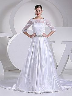 Half Sleeved Appliqued Satin A Line Wedding Gown with Beaded Waist - USD $239.00