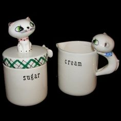 Vintage Holt Howard Cozy Kitten Pixie Cream  Sugar Jar