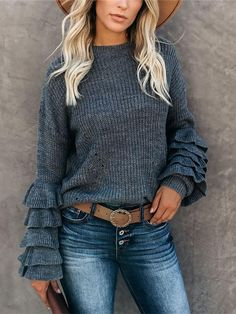 Product number brand name shekeys Top length conventional Pattern type Solid color occasion Leisure Sleeve Type Bell sleeve Pullover Mode, Pullover Sweaters, Knitting Sweaters, Mode Top, Loose Sweater, Sweater Fashion, Casual Tops, Pulls, Types Of Sleeves